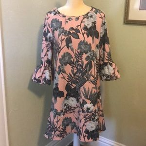 Nina Leonard Pink Floral Dress Bell Sleeves